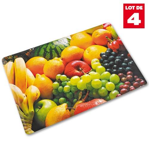 LES 4 SETS DE TABLE FRUITS