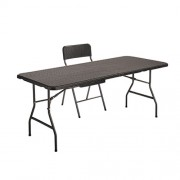 "ENSEMBLE ""ROTIN"" (1 table + 4 chaises)"