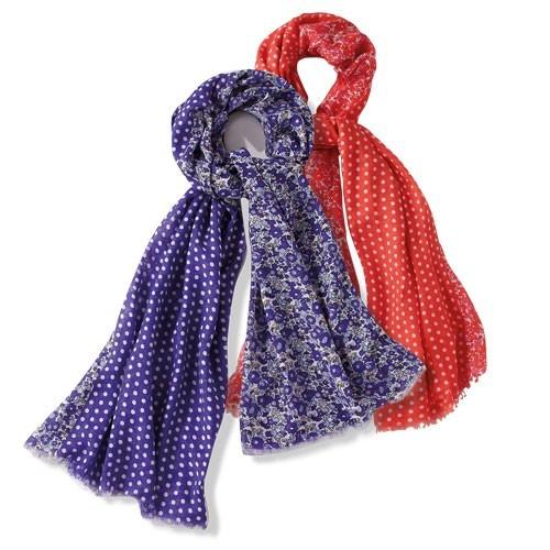 Foulards fleurs & pois - les 2