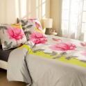 Parure de lit «jardin fleuri» microfibre