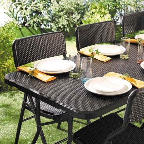 "ENSEMBLE DE JARDIN ""ROTIN"" (1 table + 4 chaises)"