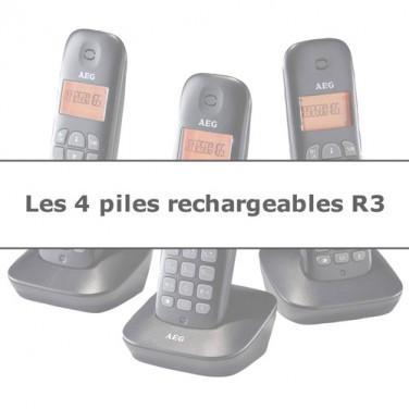 LES 4 PILES R3 RECHARGEABLES SPÉCIAL TÉLÉPHONE