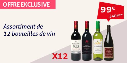 Assortiment 12 bouteilles de vin