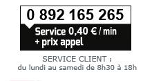 0 892 165 265 (Service 0,40€ /min + prix appel)