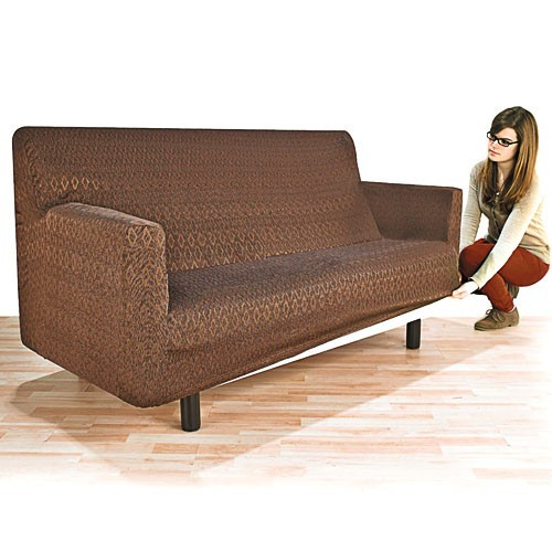 sedao vente mobilier rangement housse adaptable canap 2 places chocolat. Black Bedroom Furniture Sets. Home Design Ideas